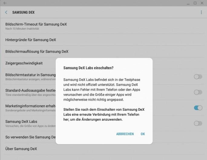 Samsung DeX-Labs (Screenshot: ZDNet.de)