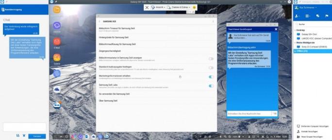 Samsung DeX-Labs sorgt für eine sinnvolle Nutzung von Teamviewer QuickSupport (Screenshot: ZDNet.de)
