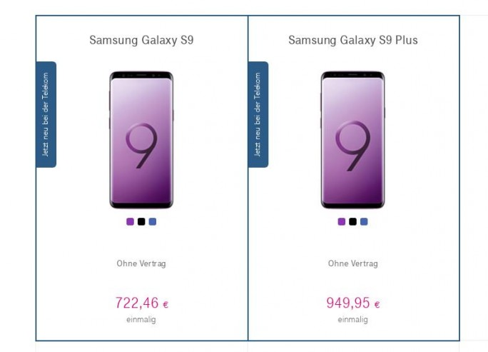 Telekom: Galaxy S9 für 722,46 Euro (Screenshot: ZDNet.de)