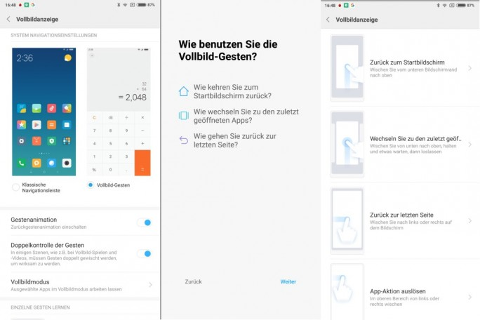 Xiaomi MIUI 9 Beta integriert Vollbild-Gesten (Screenshot: ZDNet.de)