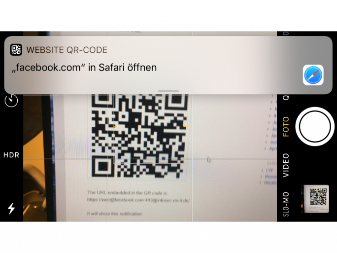 QR-Code Scanner von iOS 11 (Screenshot: ZDNet.de)