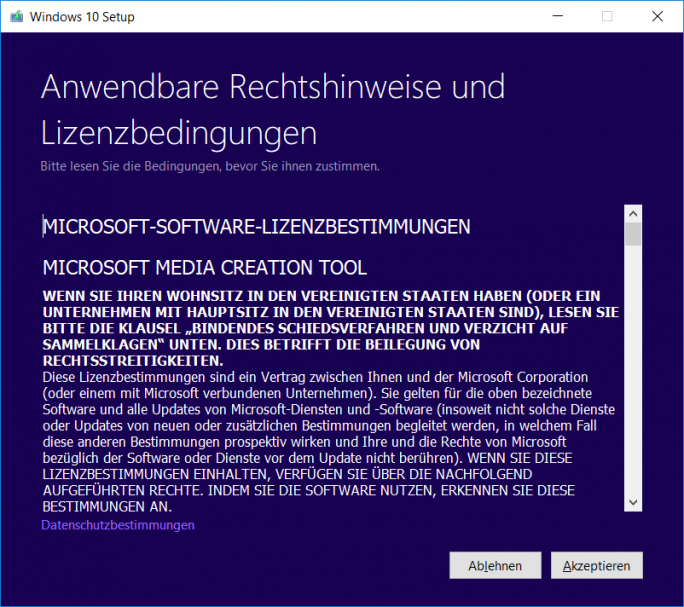 Windows 10 1803 April-Update: MediaCreationTool - Lizenzbestimmungen (Bild: ZDNet.de)