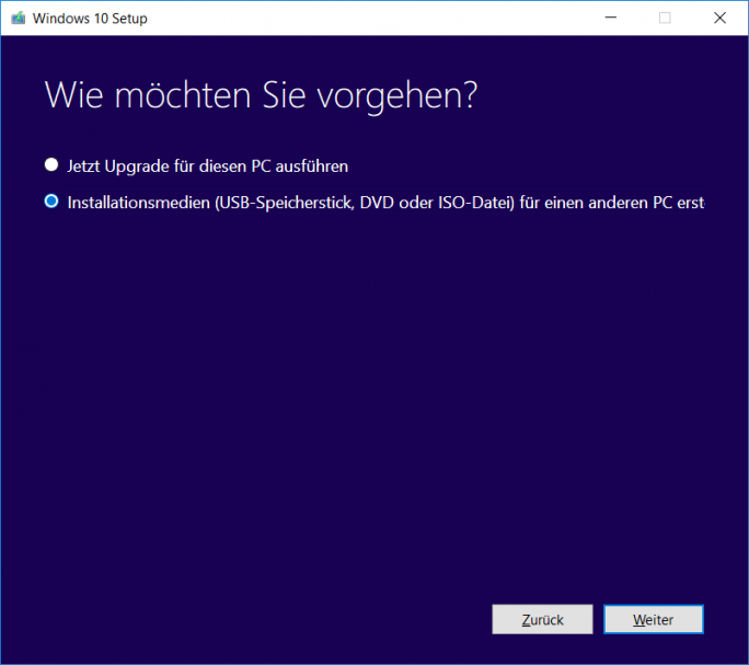 Windows 10 1803 April-Update: MediaCreationTool Wie möchten Sie vorgehen (Bild: ZDNet.de)