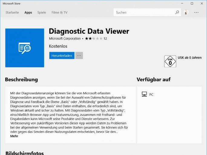 Windows 10 April-2018-Update: Diagnostic Data Viewer - Diagnosedatenanzeige (Bild: ZDNet.de)