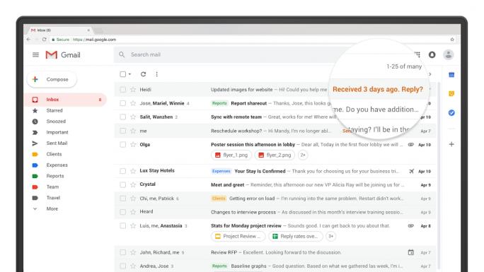Gmail erinnert an die Bearbeitung übersehener Nachrichten (Bild: Google LLC).