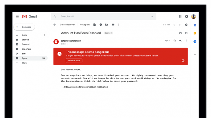 Unübersehbare Warnung vor Phishing-Versuch (Bild: Google LLC)