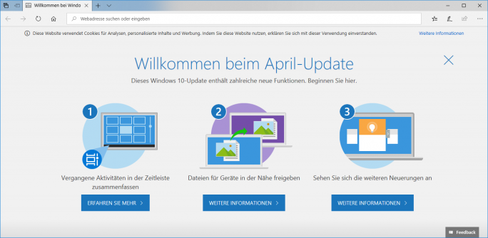 "Statt ""Spring Creators Update"" heißt Windows 10 1803 nun ""April-Update"" (Bild: ZDNet.de)."