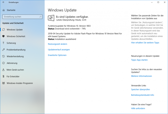 Windows 10: Insider erhalten das April-Update Build 17134 (Bild: ZDNet.de)