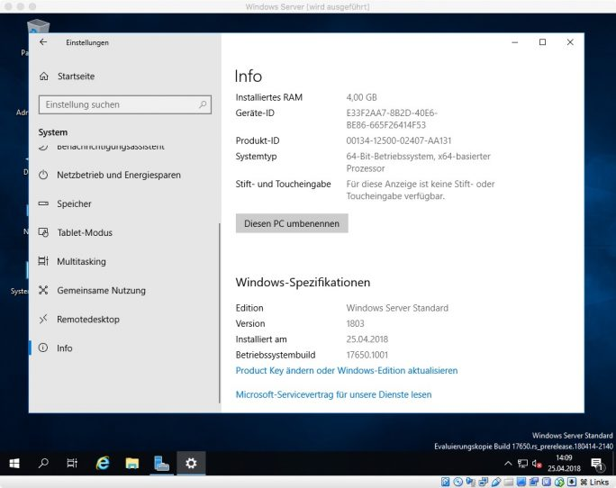 Windows Server 2019 Build 17650 (Bild: ZDNet.de)