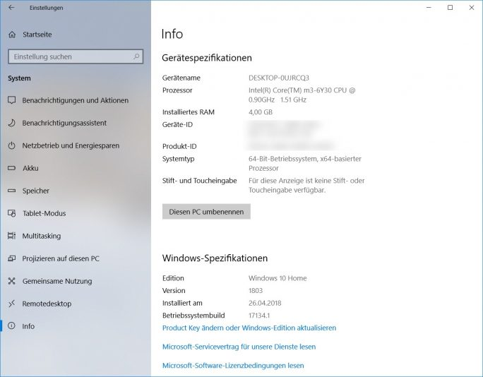 Windows 10 1803 April-Update Build 17134.1 (Bild: ZDNet.de)