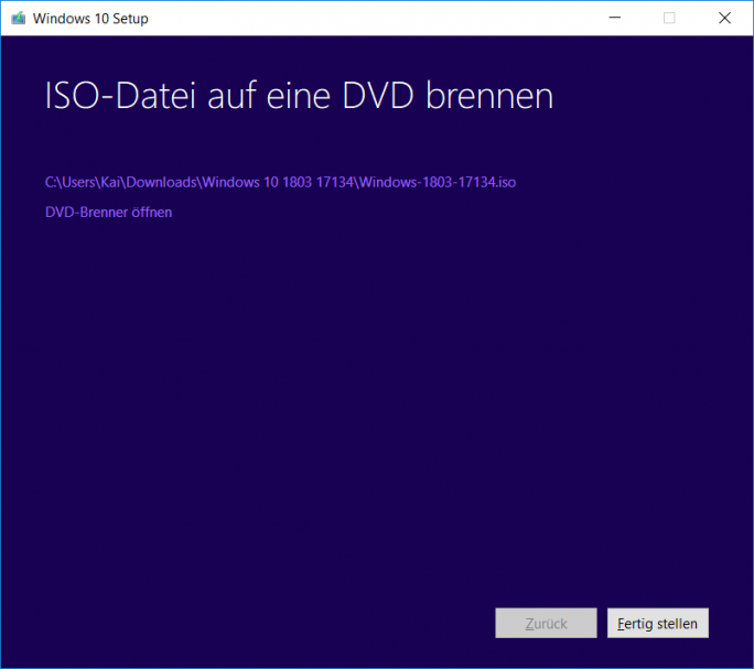 Windows 10 1803 April-Update: MediaCreationTool ISO ist fertig (Bild:ZDNet.de)