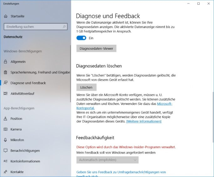Windows 10 April-2018-Update: Einstellungen-Datenschutz-Diagnosedaten (Bild: ZDNet.de)