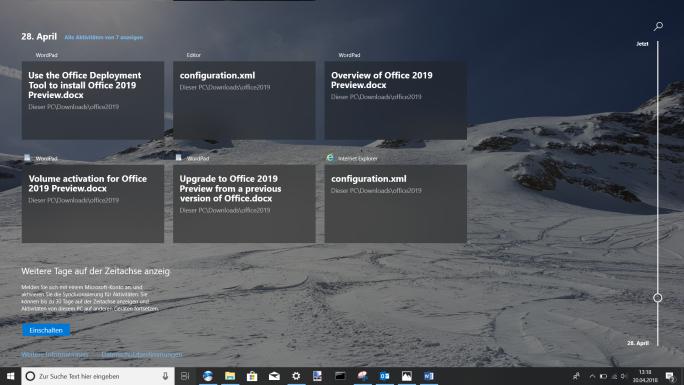 Mit der Timeline-Funktion (Zeitachse) können Anwender in Windows 10 zur Wiederherstellung von Objekten in die Vergangenheit zurückspringen (Screenshot: Thomas Joos).