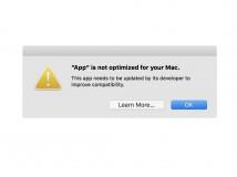 macOS High Sierra 10.13.4 warnt vor 32-Bit-Anwendungen