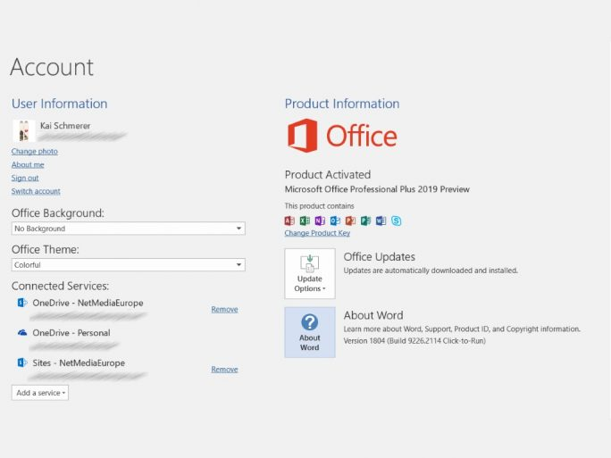 Office 2019 Preview (Bild: ZDNet.de)