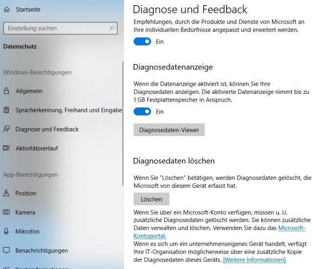 Windows 10 Version 1803 bietet mehr Einstellungsmöglichkeiten für Diagnosedaten (Screenshot: Thomas Joos).