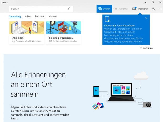 Mit Windows 10 Version 1803 hat Microsoft auch die Foto-App überarbeitet (Screenshot: Thomas Joos).