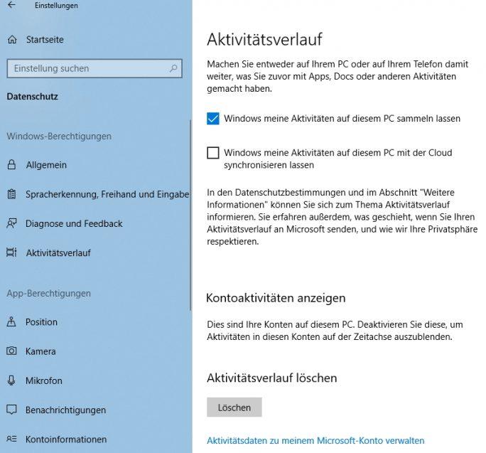 Die Timeline kann in der Einstellungs-App konfiguriert werden (Screenshot: Thomas Joos).