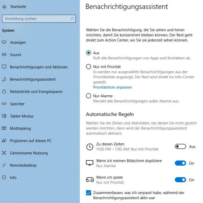 Der neue Benachrichtigungsassistent hilft bei der Erstellung von Regeln für Benachrichtigungen (Screenshot: Thomas Joos).