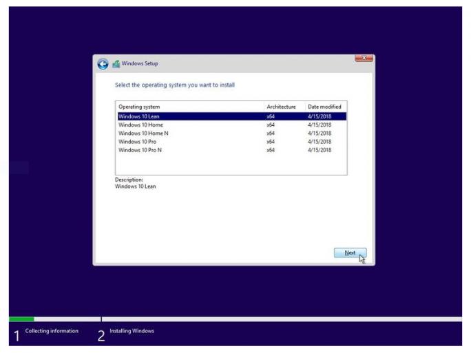 Windows 10 Lean (Bild: Lucan/Twitter)