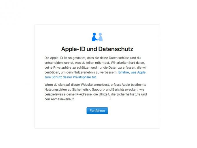 Apple-Datenschutz: Login (Screenshot: ZDNet.de)
