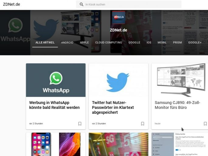 Google Play Newsstand alias Play Kiosk soll in Google News integriert werden (Screenshot: ZDNet.de)