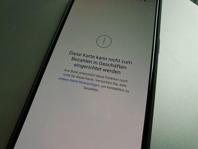 Google Pay: Kreditkarte für Google Pay nicht geeignet (Bild: ZDNet.de)