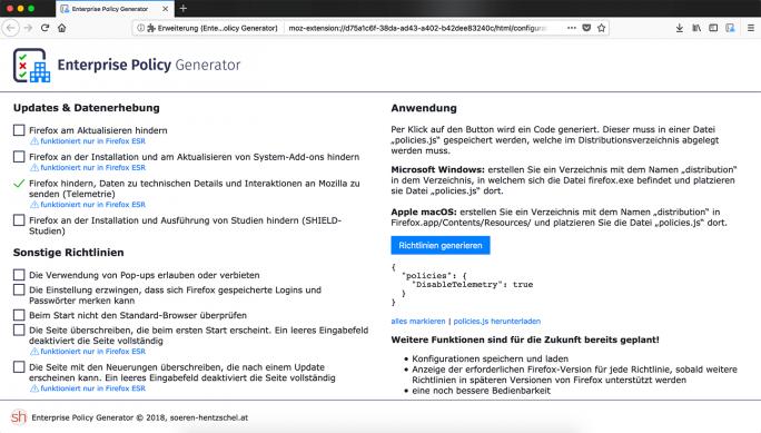 Mozilla Firefox 60: Erweiterung Enterprise-Policy-Generator (Bild: Hentzschel)