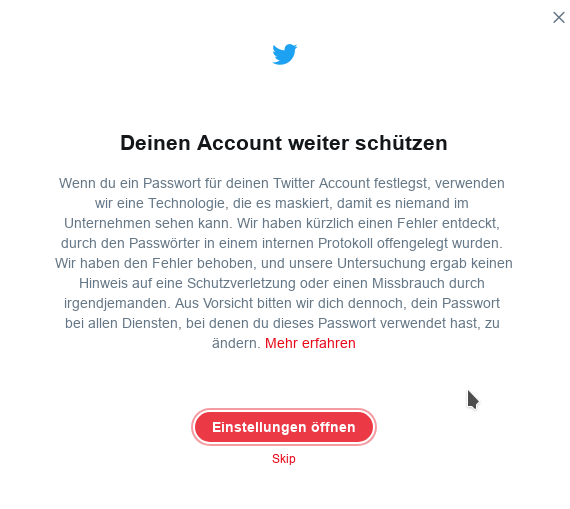 Twitter-Passwort-Klartext (Screenshot. ZDNet.de)