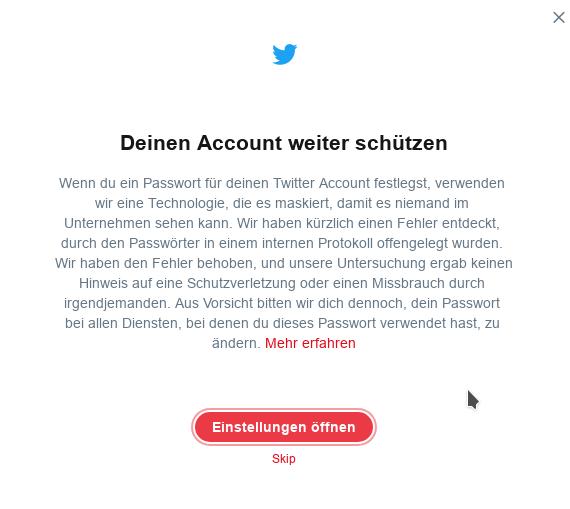 Twitter-Passwort-Klartext (Screenshot. ZDNet.de)