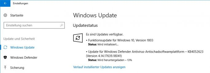 Windows 10 1803 April-2018-Update Build 17134 .1 (Screenshot: ZDNet.de)