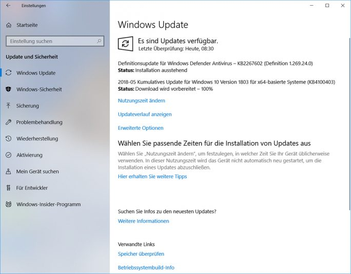 Windows-10-Update KB4100403 behebt Probleme mit SSDs von Intel und Toshiba (Screenshot: ZDNet.de)