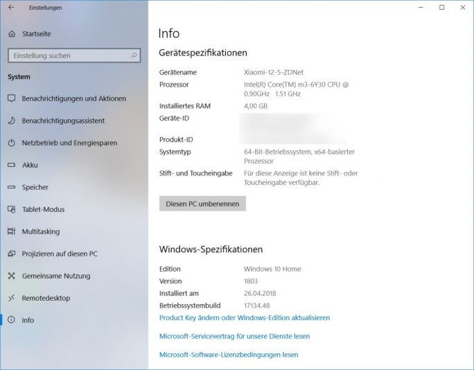 Windows 10: Kumulatives Update KB4103721 Build 17134.48 (Bild: ZDNet.de)