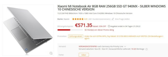 Xiaomi Mi Notebook Air 13.3 2017 für 571 Euro (Screenshot: ZDNet.de)