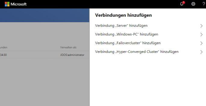 Auswählen der zusätzlichen Verbindungen zum Windows Admin Center (Screenshot: Thomas Joos).