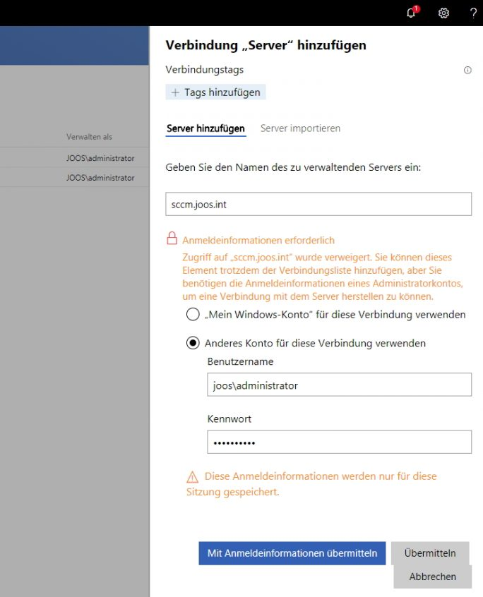 Anbindung weiterer Server an das Windows Admin Center (Screenshot: Thomas Joos).