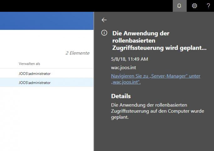 Das Windows Admin Center verfügt über einen eigenen Info-Bereich (Screenshot: Thomas Joos).
