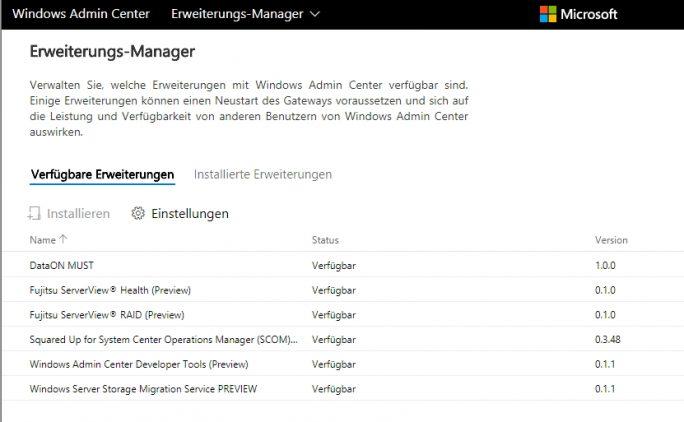 Das Windows Admin Center kann mit Erweiterungen ausgebaut werden (Screenshot: Thomas Joos).
