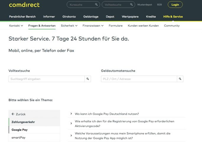 comdirect erklärt Google Pay (Screenshot: ZDNet.de)