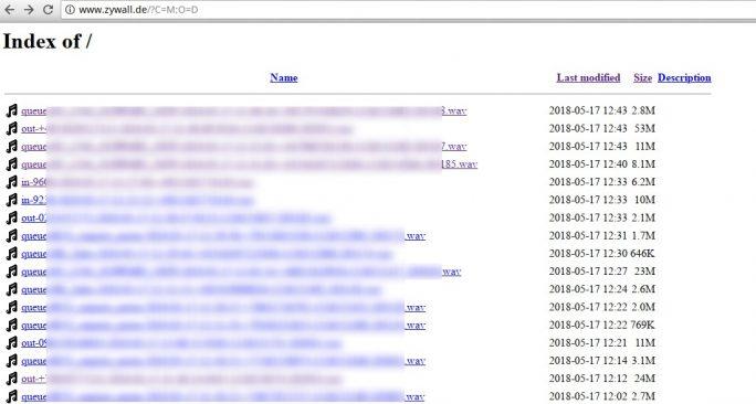 Unter www.zywall.de waren aufgezeichnete Telefongespräche öffentlich zugänglich (Screenshot: ZDNet.de).