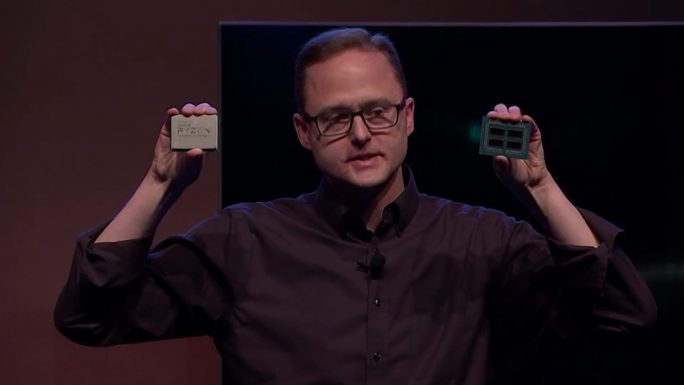 AMDs Vice-President Jim Anderson zeigt Threadripper 2nd. Generation in Taipeh (Bild: AMD)