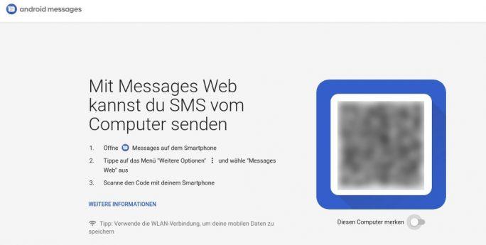 Android Messages: Desktop-mit Smartphone verbinden (Bild: ZDNet.de)