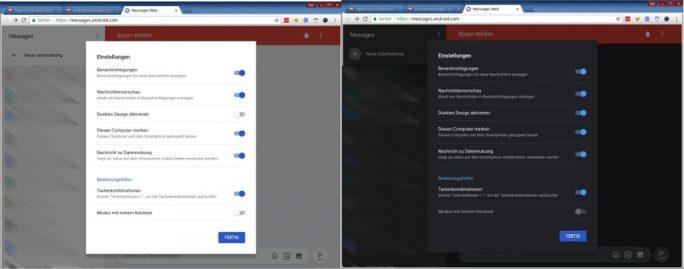 Messages Web unter Linux: helles und dunkles Design (Bild: ZDNet.de)