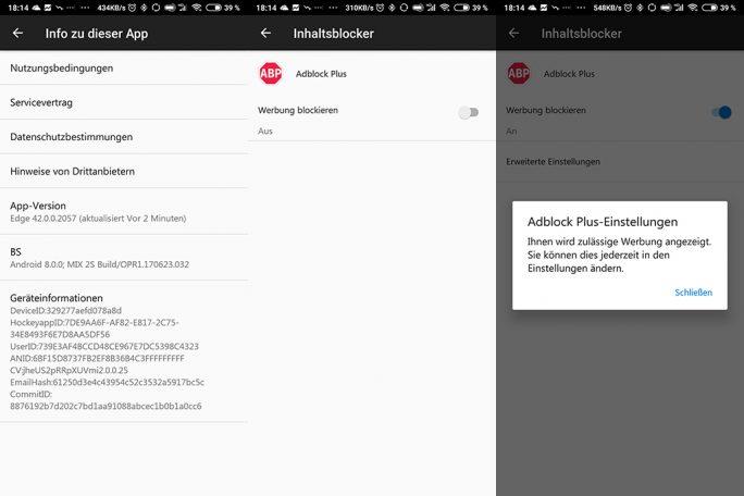Microsoft Edge integriert Adblock Plus (Bild: ZDNet.de)