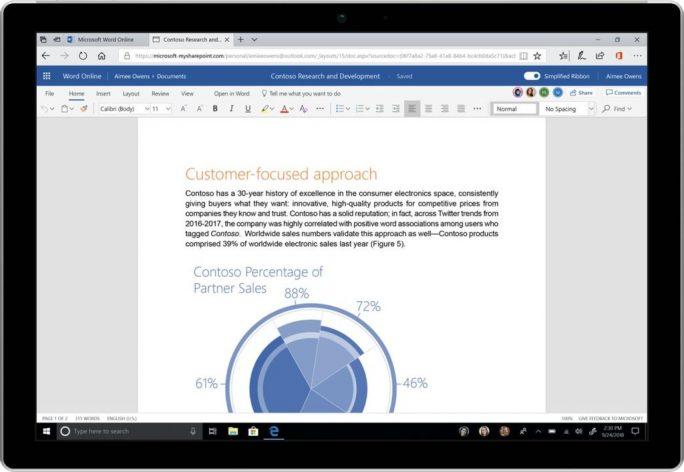 Office 365: Word mit reduziertem Ribbon (Bild: Microsoft)
