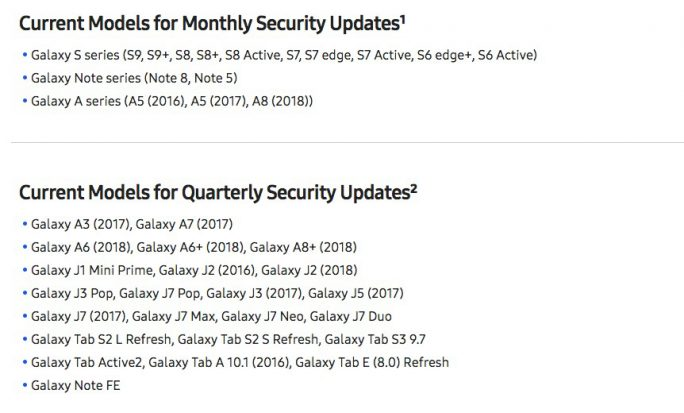 Samsung-Security-Updates: Aktueller Status (Screenshot: ZDNet.de)