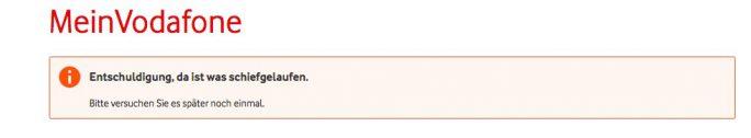 Vodafone-Portal: Fehler beim Abspeichern der Antworten für drei Sicherheitsfragen (Screenshot: ZDNet.de)