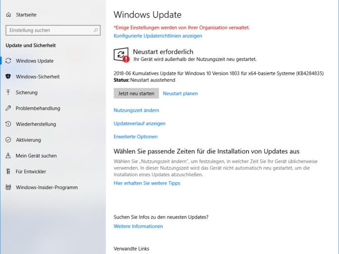 Windows-Update-Juni-KB4284835 (Screenshot: ZDNet.de)