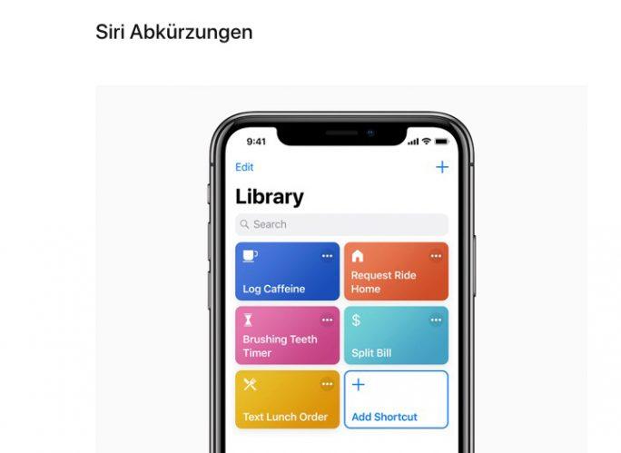 iOS 12: Siri-Abkürzungen (Bild: Apple)
