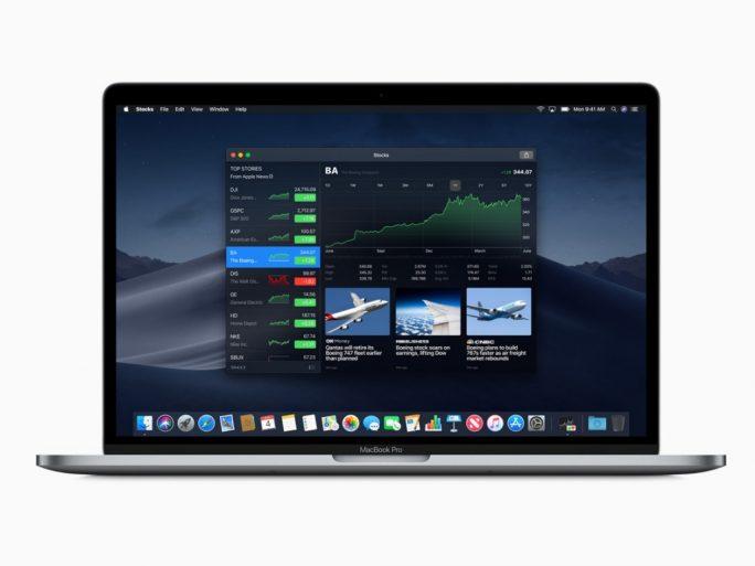 macOS 10.14 Mojave: Aktien (Bild: Apple)